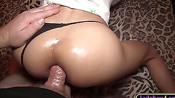 Tight ass amateur Asian ladyboy Alice bareback anal fucked