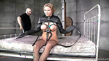 Fake tits tied with ropes as bondage doll yells in BDSM porn
