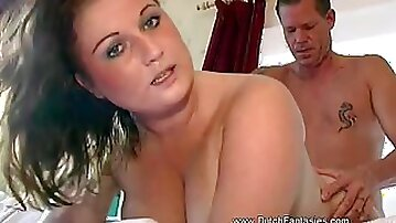 Dirty brunette BBW Cathy satisfies hubby with a blowjob and hard fuck
