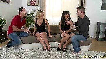 Sluty women Jemma Valentine and Bella Beretta foursome sex