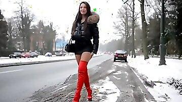 Julie Skyhigh Moncler Hooker Walk in snow