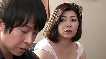 Japanese MILF wife in sexy lingerie Okae Rin fucked in bedroom by her hubby