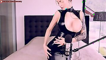 Amy Latex - Amateur fetish solo with tattooed blonde