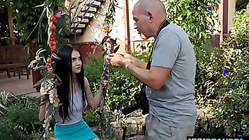 Careful teen massaging a dirty old mans legs and cock