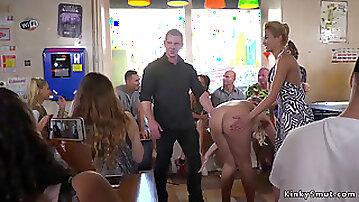 Serbian slut fucked in bondage in public