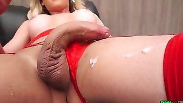 Smoking torrid tgirl blondie in crimson undergarments solo