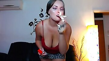 Buxom chubby in sexy tank top smoking - solo fetish