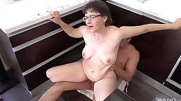 Granny Edith Pumps Her Hairy Pussy Up And Down His Man Meat