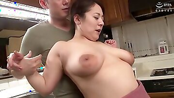 Chubby Japanese MILF fucked in the kitchen - Asian tits in hardcore with cumshot