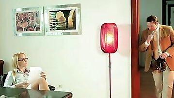 Kathia Nobili makes her employee polish her high heels & fuck her pussy