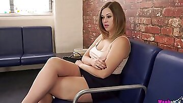 Whorish milf Anna Joy is toying her nasty pussy in public place