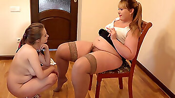 Busty student in an exam with a lezzie teacher. Licking a hairy pussy and anal romp plaything guarantee successful passing the exam.