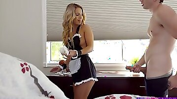 Bella Rose is sexy blonde maid who is great cock riding expert