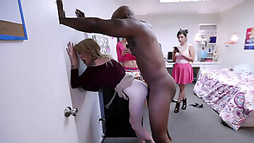 BBC whore Nora Ivy takes the huge anaconda inside her little pink pussy