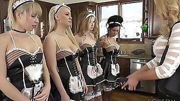 Lesbian mistress Briana Banks is licking and rimming holes of several nasty maids