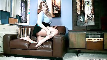 Large-Breasted Blond Hair Lady Blue Blouse and Black Skirt