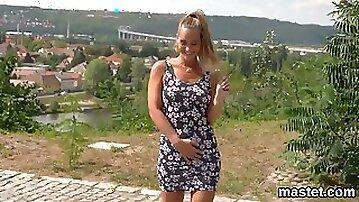 Kinky czech teen opens up her spread slit to the bizarre