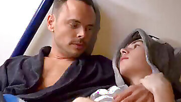 Youthful lad Step Son Dakota Lovell Bed Time Story With Family Step parent Trent Summers