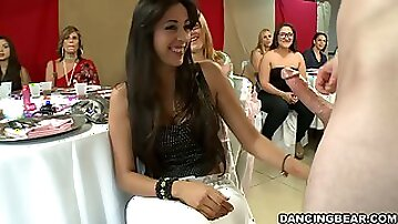 All Girl CFNM Party with Cock Sucking Chicks Enjoying the Strippers