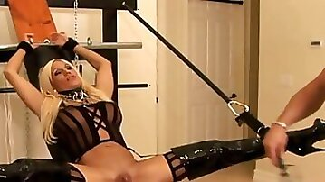 Big bdsm clit action with toys and leather