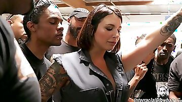 Band of black boys fuck deep throat of tattooed white hooker Ivy Lebelle