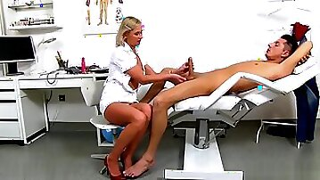 Hot mature handjob and cum on tits