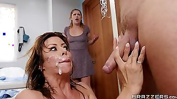 MILF nurse Alexis Fawx gets cum on her face from a patient