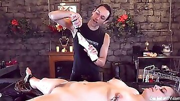 Mind-blowing bondage session for sexy danielle and her shaved pussy