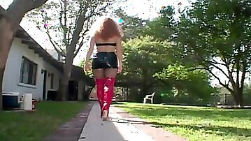 Curvy ginger slut in stockings gets ass rammed outdoors