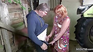 German Mommy and Dad Make Love Outdoor on farm