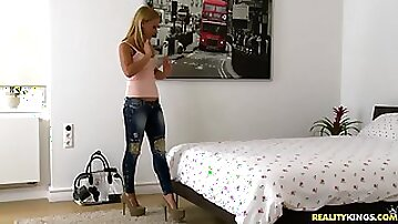 Elegant Blonde With Long Hair Fingering Her Anal Immensely