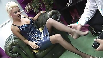 Shoe slut in fishnets having her pussy penetrated deep and hard