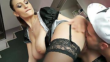 Charming brunette chick Sensual Jane fucks a horny man