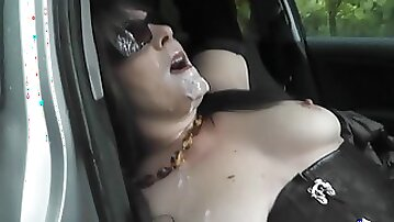 Hungry Wife Takes A Lot Of Guys In The Car