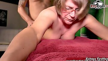 German old granny mature mom fuck at massage with glasses
