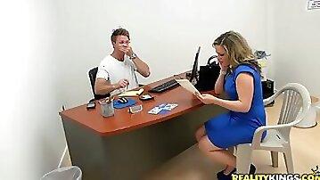 Office Hardcore Action with Blonde MILF Carmen Valentina