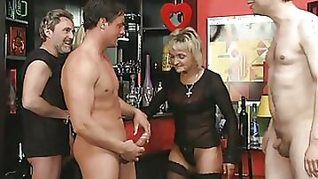 Blonde German granny loves fucking hard in vintage leather sex suits