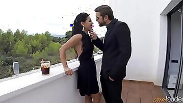 Spanish hottie Apolonia Lapiedra gets her mouth and pussy fucked on the balcony
