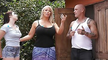 Outside sex experience by the pool is memorable for adorable Keira Croft