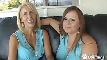 Horny cougars Erica Lauren and Jessica Dvine sharing huge dildos