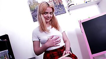 Petite blondie Lolly Small fingers her pussy & uses a butt plug in solo