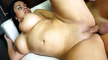 Curvy brunette bombshell Galilea gets her tight snatch hammered hard