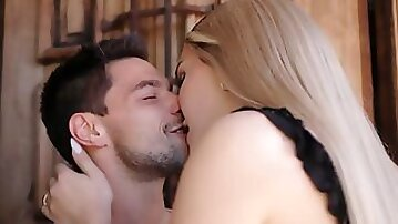 Busty blonde shemale barebacked by her mistress big cock