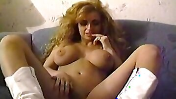 White leather cowgirl boots on a big tits vintage babe