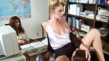 Adorable angel Charlese LaMour rides on a long dick in the office