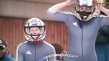 Athlete hides a slutty surprise (tiny thong) under her spandex uniform