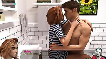 3D lovers make passionate sex in the bathroom
