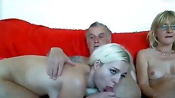 Grandpa and grandma seduce young horny granddaughter live at sexycamx