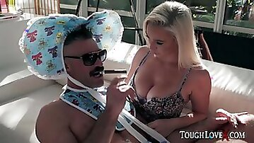 Blonde mommy breastfeeding dude in diapers with soother - fetish