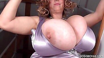 Abbi Secraa amazing giant tits on Romanian mature - topless solo